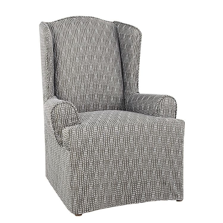 Greatex Woven Jacquard Wingback Chair Couch Slipcover, 1-Piece Wing Chair Cover-Rain Series