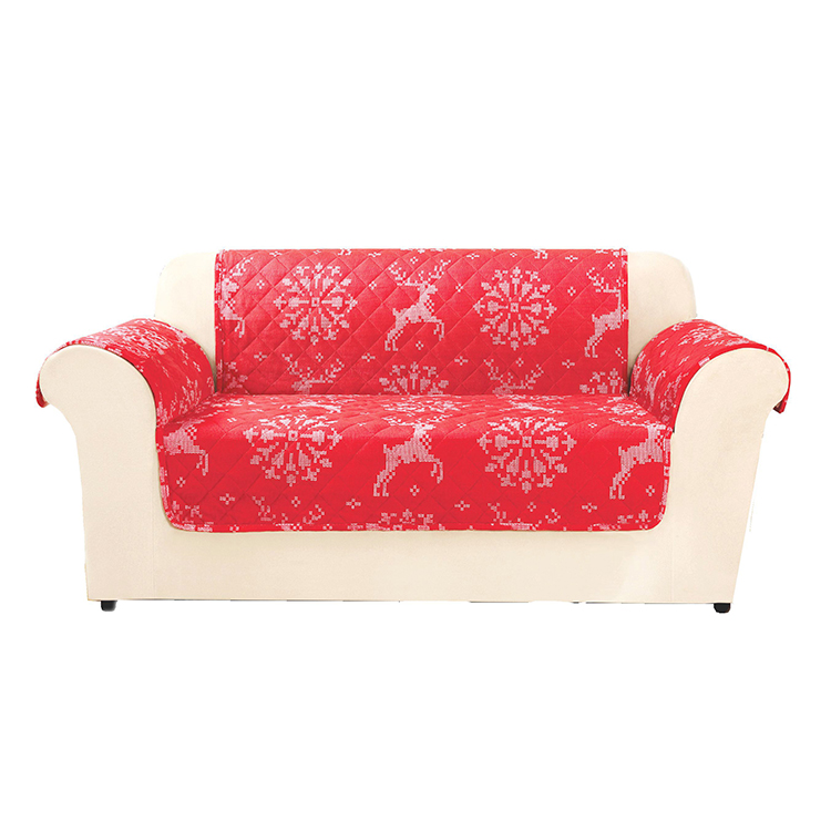 Greatex Reversible 1-Piece Loveseat Furniture Pet Throw Protector For Kids and Pets - Deer Throw Red