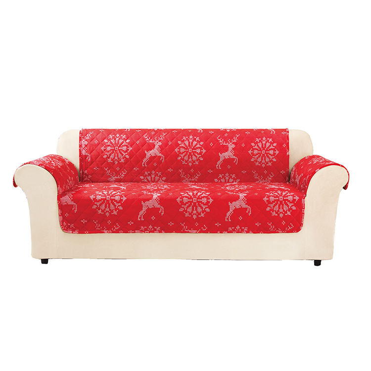 Greatex Reversible Deer Throw 1-Piece Sofa Pet Throw Furniture Protector Red