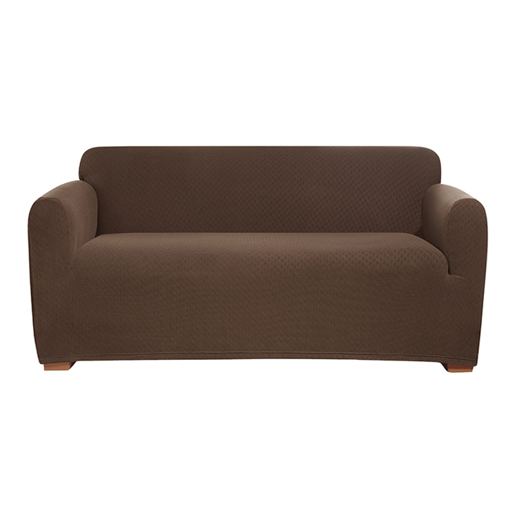 Greatex Stretch Brick knit Jacquard 1 Piece Loveseat Slipcover- Cayenne / Ċikkulata / Griż / Tan