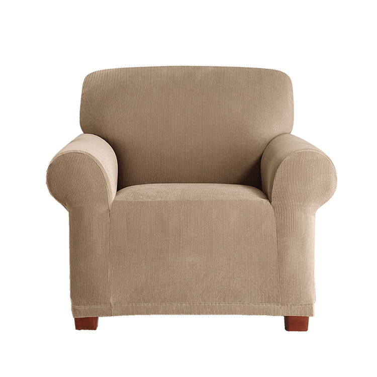 Greatex 1-Piece Stretch C Corduroy Slipcover Chair Sofa Protector-Tan/Brown