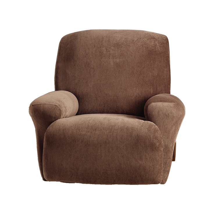 Greatex 1-Piece Stretch C Corduroy Slipcover Recliner Chair-Tan/Brown