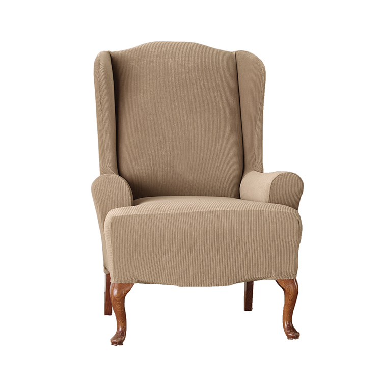 Greatex Stretch 1-Piece C Corduroy Knit Jacquard Wingback Chair Slipcover -Tan/Brown