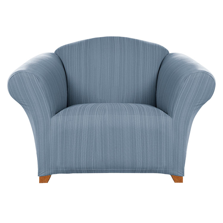 Greatex Stretch Colored Twill 1-Piece Slipcover Chair Furniture Protector- Faded Denim