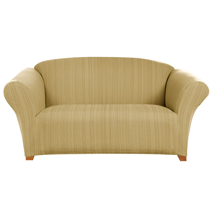 Greatex 1-piece Stretch Colored Twill Slipcover Loveseat- Khaki