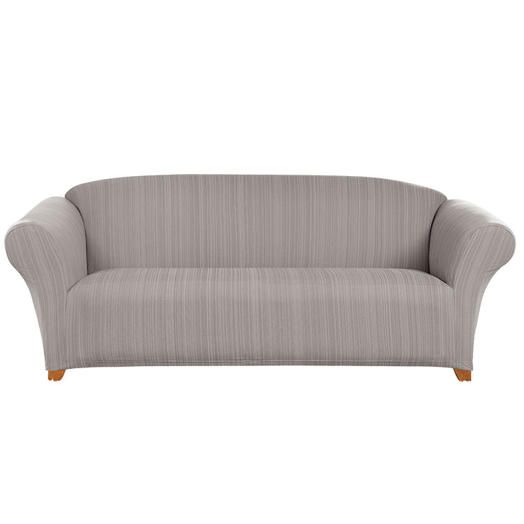 Greatex 1-piece Knit Jacquard Stretch Colored Twill Slipcover Sofa- Dove gray