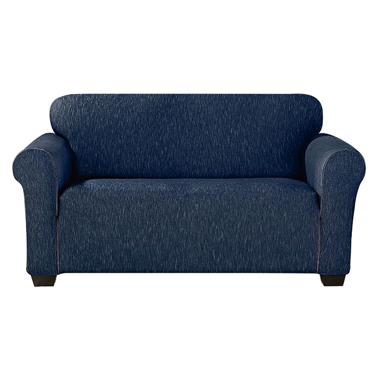 Greatex Stretch Denim Loveseat Couch Slipcover Sofa Cover for Living Room, 1-Piece Loveseat Furniture Cover- Black/Indigo