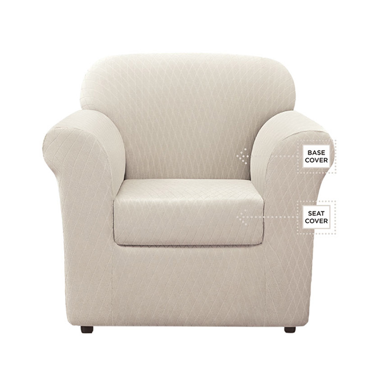 Greatex Stretch Large Diamond Slipcover Chair- Sand Dune/Slate/Surf