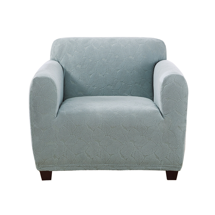 Greatex 1-Piece Stretch Leaf Knit Jacquard Slipcover Chair- Blue/Mint/Gray/Tan