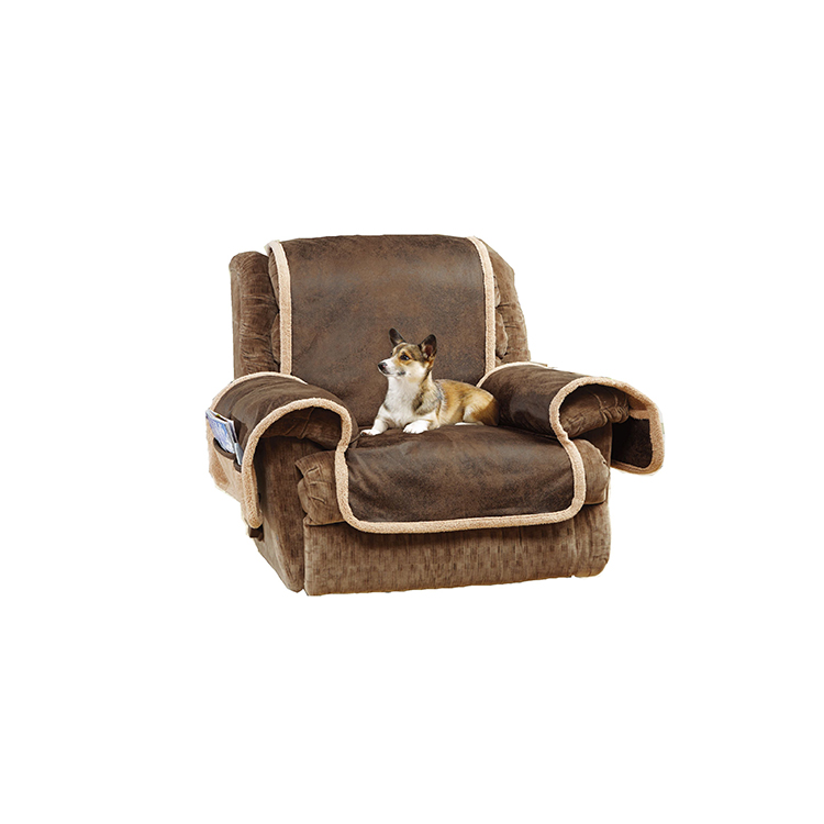 Greatex Faux Leather Recliner Pet Throw Sofa Furniture Protector for Living Room, 1-Piece Reversible Recliner Pet Throw Cover-Birch/Brown