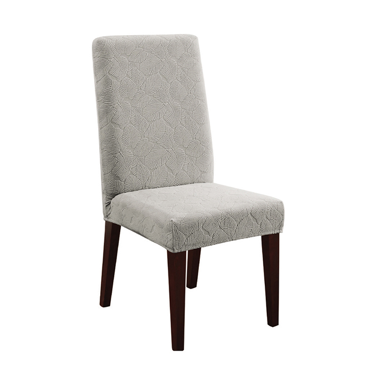 Greatex Stretch Leaf Knit Jacquard 1-Piece Slipcover Dining Chair- Blue/Gray/Mint/Tan
