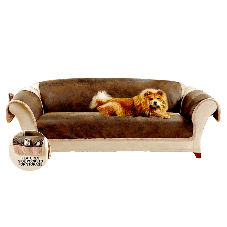 Greatex Faux Leather Pet Throw Sofa Furniture Protector for Living Room, 1-Piece Reversible Sofa Pet Throw Cover-Birch/Brown