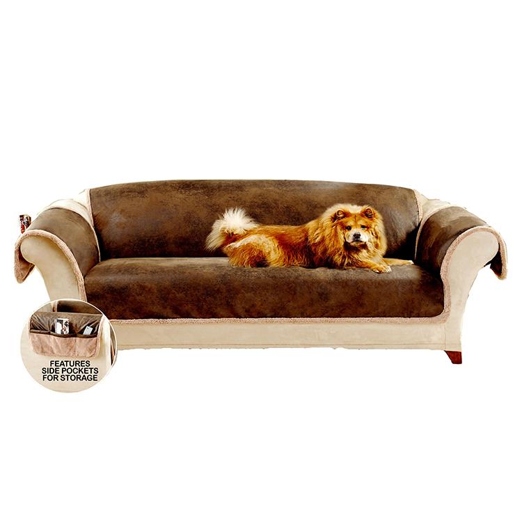 Greatex műbőr háziállat-kanapé bútorvédő nappali helyiséghez, 1 darabos megfordítható kanapé-háziállat-dob védőfedő-nyír / barna