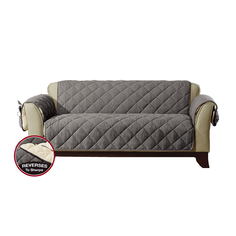 Greatex Reversible 1-Piece Loveseat Furniture Pet Throw Protector For Kids and Pets Flannel Plush Throw-Chocolate/Loden/Walnut/Gray
