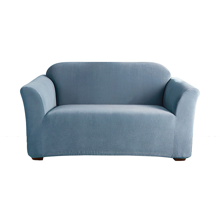 Greatex Stretch Mini Stripe Slipcover 1-Piece Loveseat-Fedblue