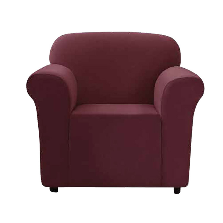 Greatex 1-Piece Stretch Mini V-Shaped Slipcover Chair- Dark Chocolate/Garnet/Tan