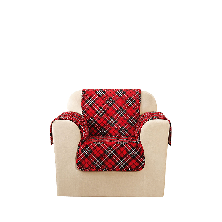 Greatex One-Piece Chair Pet Throw Custom Upholster Holiday Style-Evergreen/Ivory/Tartanplaid