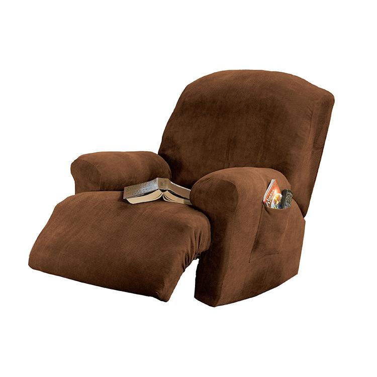 Greatex 1-piece Stretch Twill Recliner Chair Slipcover -Dark Chocolate/Chocolate