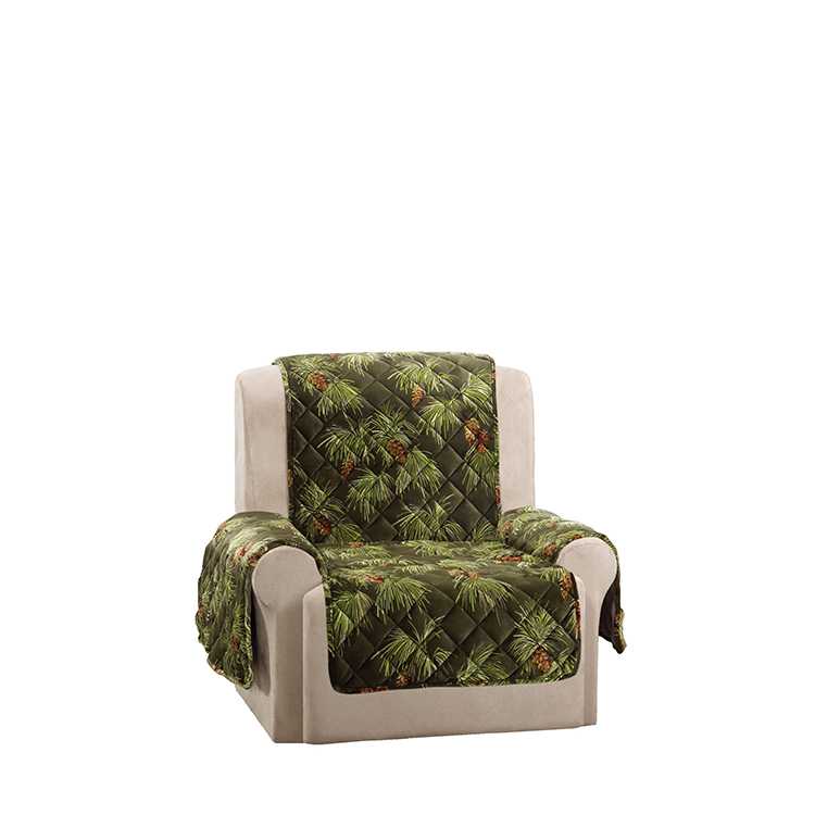 Greatex Custom Holiday Style One-Piece Recliner Sofa Protector Pet Throw-Evergreen/Ivory/Tartanplaid