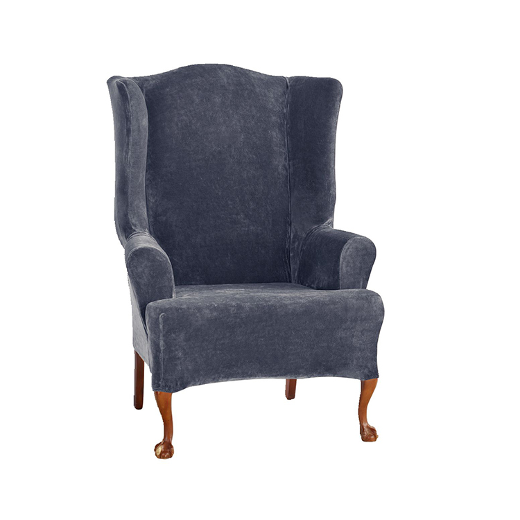 Greatex Stretch Soft Plush 1-Piece- Knit Jacquard Wingback Chair Slipcover-Plush Mulberry/Plush Sable/Plush Storm Blue