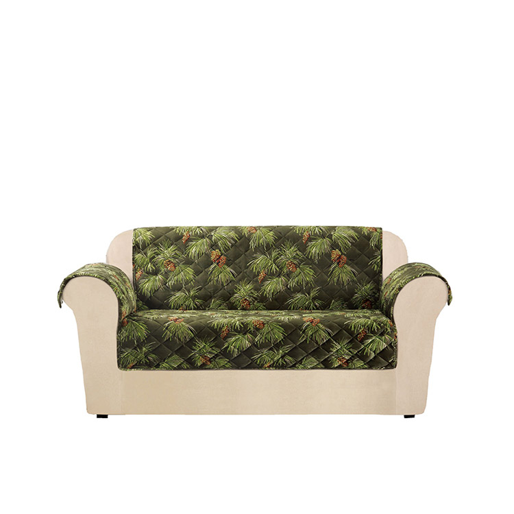 Greatex One-Piece Custom Holiday Estilo Loveseat Sofa Protector Alagang Hayop Para sa bata at Alagang Hayop-Evergreen / Ivory / Tartanplaid